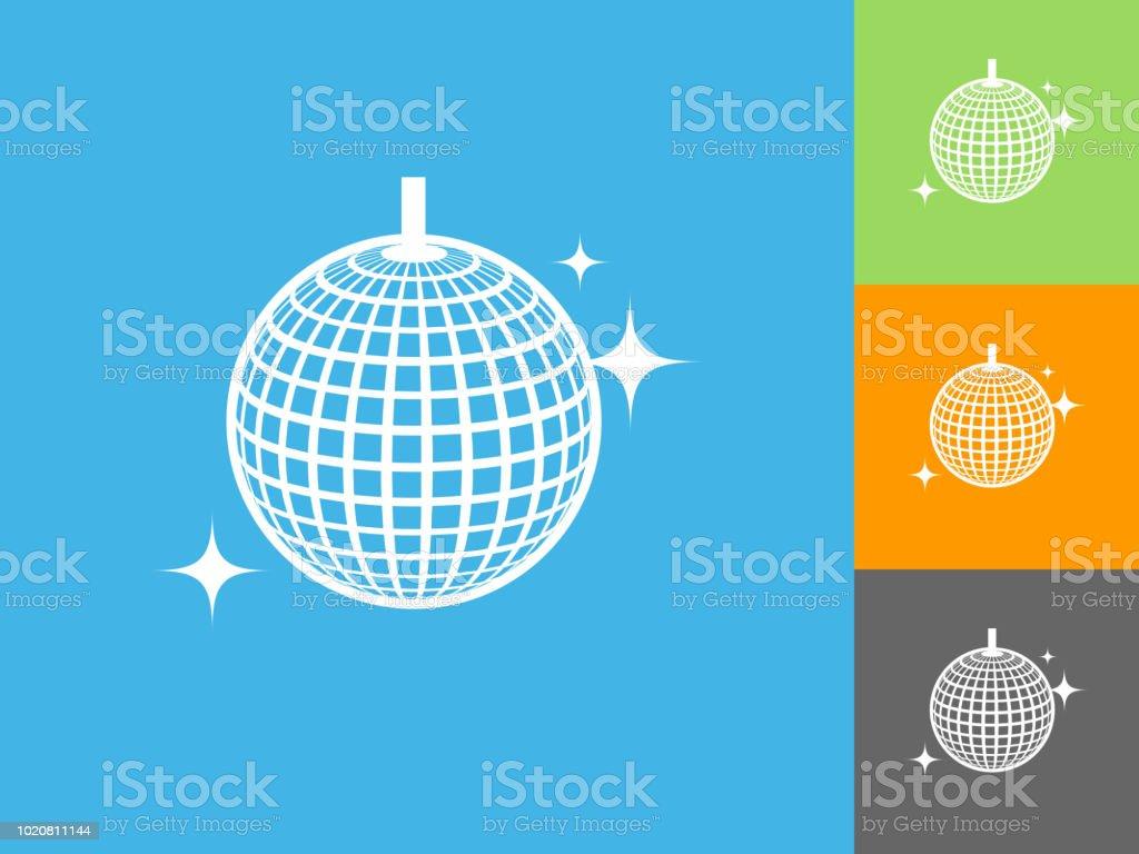 Gliterring Disco Ball Flat Icon on Blue Background vector art illustration
