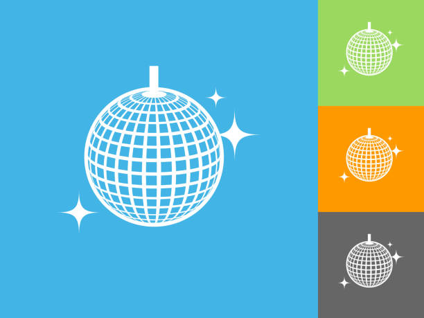 Gliterring Disco Ball flach Symbol auf blauem Hintergrund – Vektorgrafik
