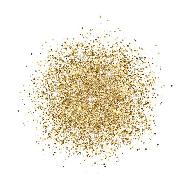 glitter background. gold glitter splash on white background. bright dust sparkle. golden design for card, web banner, poster, print, wallpaper. vector illustration - блёстки stock illustrations