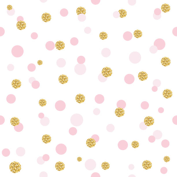 Glitter confetti polka dot seamless pattern background. Golden and pastel pink trendy colors. For birthday, valentine and scrapbook design. Glitter confetti polka dot seamless pattern background. Golden and pastel pink trendy colors. For birthday, valentine and scrapbook design. polka dot stock illustrations