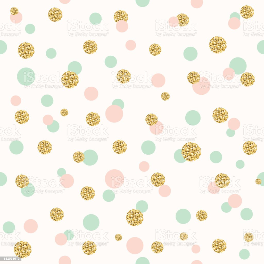 Glitter confetti polka dot seamless pattern. vector art illustration
