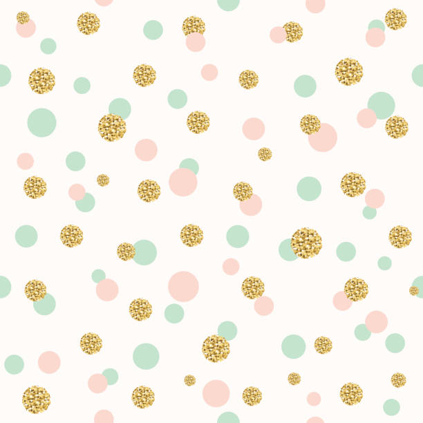 Glitter confetti polka dot seamless pattern. Glitter confetti polka dot seamless pattern background pattern. Golden, pink and blue trendy colors. For birthday and scrapbook design. birthday designs stock illustrations