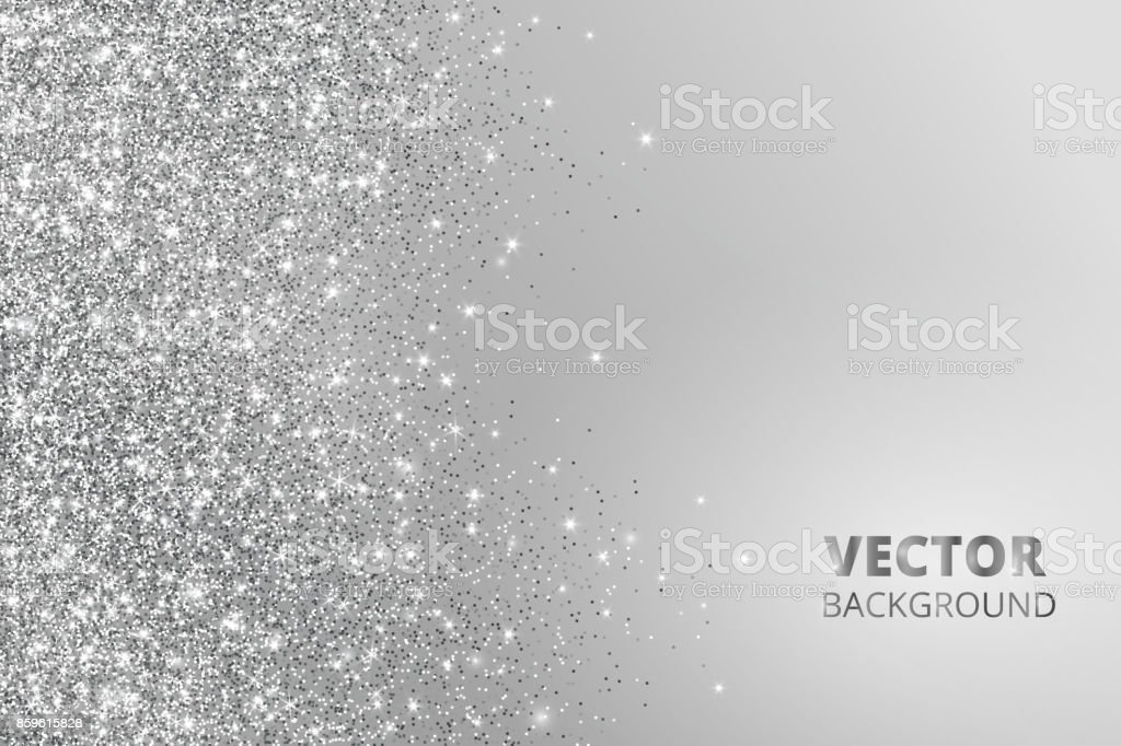 Glitter confetti, snow falling from the side. Vector silver dust, explosion on grey background. Sparkling border, frame