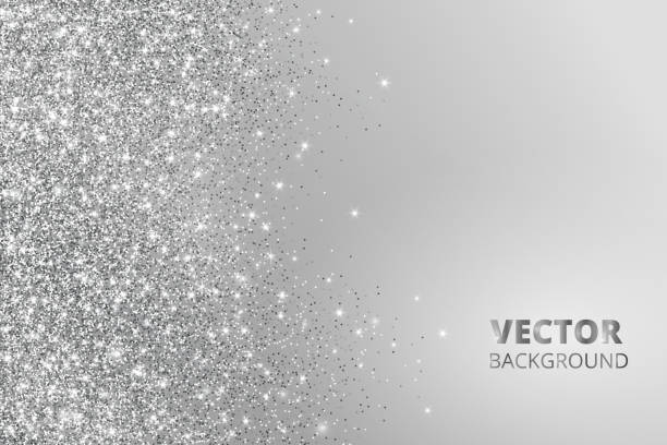 Glitter confetti, snow falling from the side. Vector silver dust, explosion on grey background. Sparkling border, frame vector art illustration