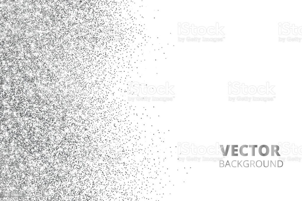 Glitter confetti, snow falling from the side. Vector silver dust, explosion isolated on white. Sparkling border, frame. royalty-free glitter confetti snow falling from the side vector silver dust explosion isolated on white sparkling border frame stock illustration - download image now