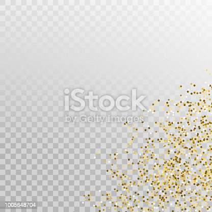 Glitter gold corner vector template banner. Golden shimmer decoration for cards.