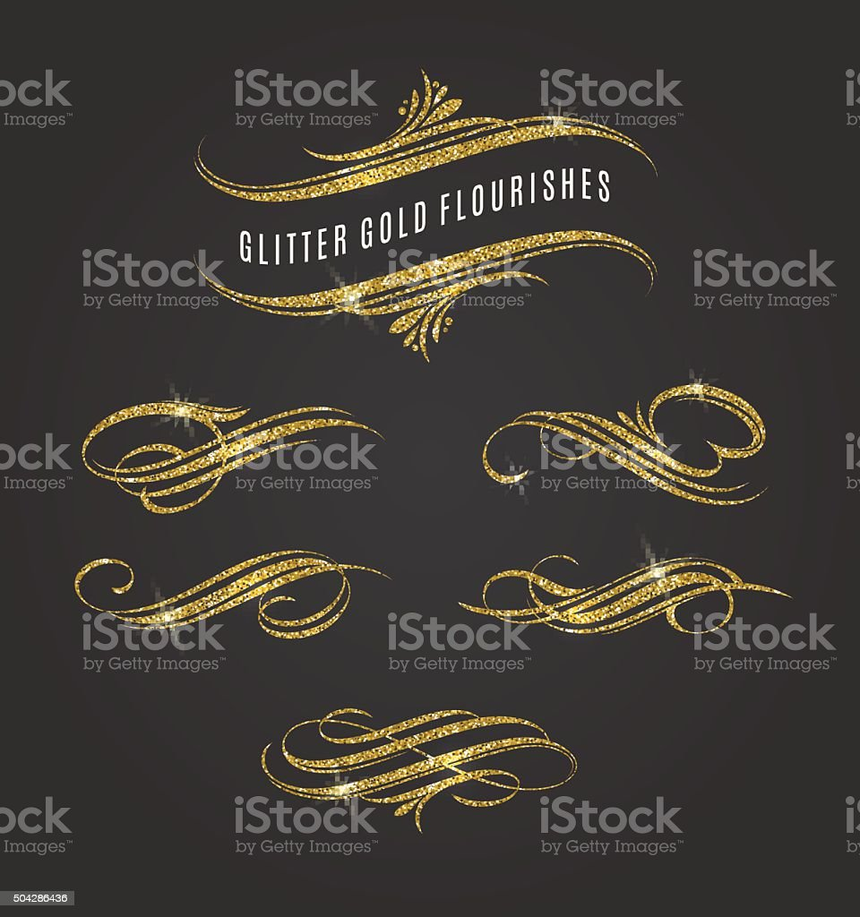 Glitter gold flourishes design elements vector art illustration