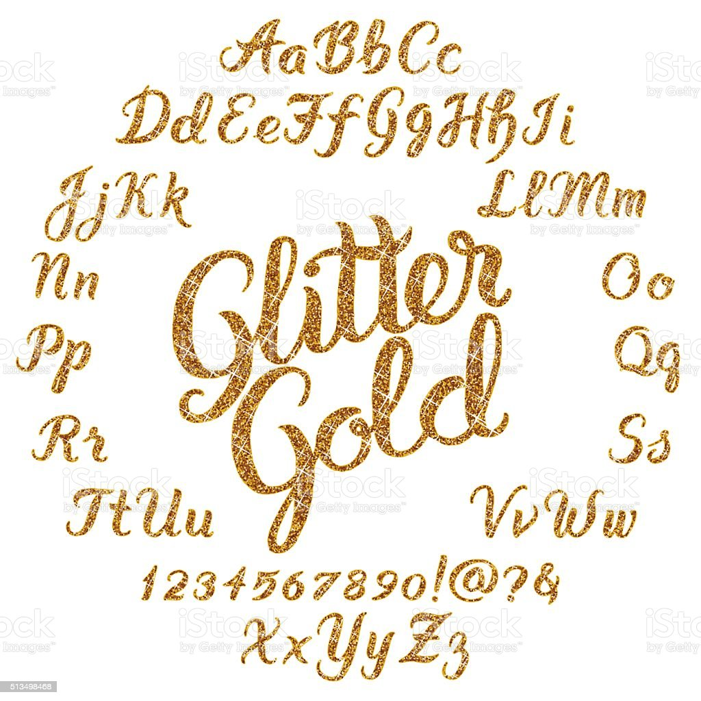Glitter Gold Handwritten alphabet vector art illustration