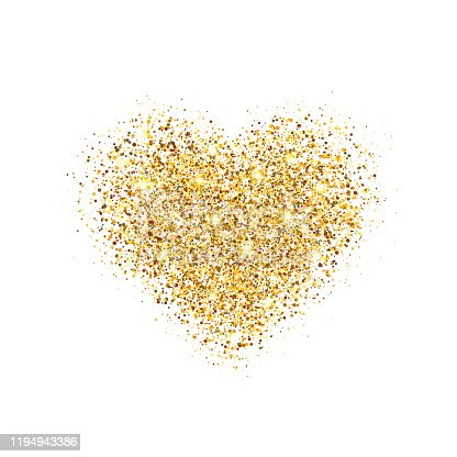 istock Glitter gold heart isolated on white background. Glowing heart with sparkles and star dust. Holiday luxury design. Valentines Day card. Romantic design with symbol of love. Vector illustration 1194943386