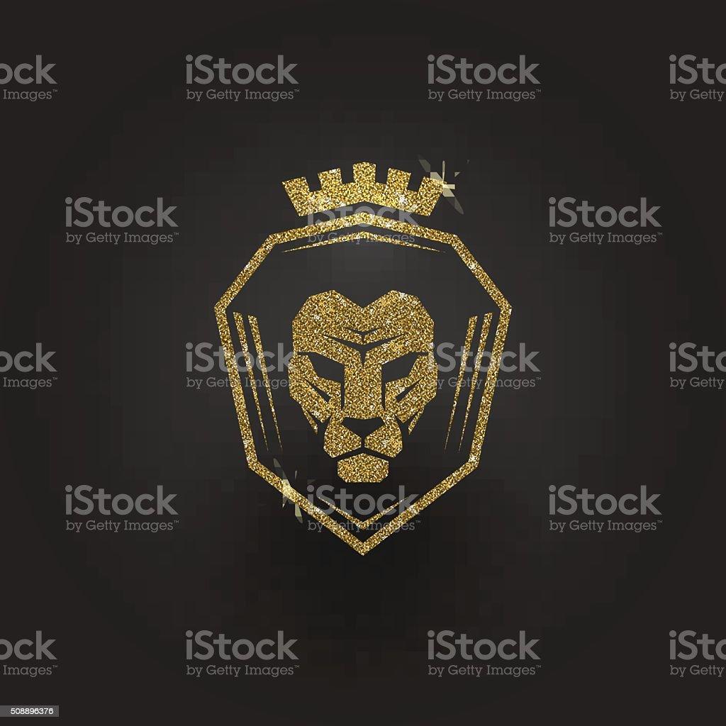 Glitter gold lion logo vector art illustration