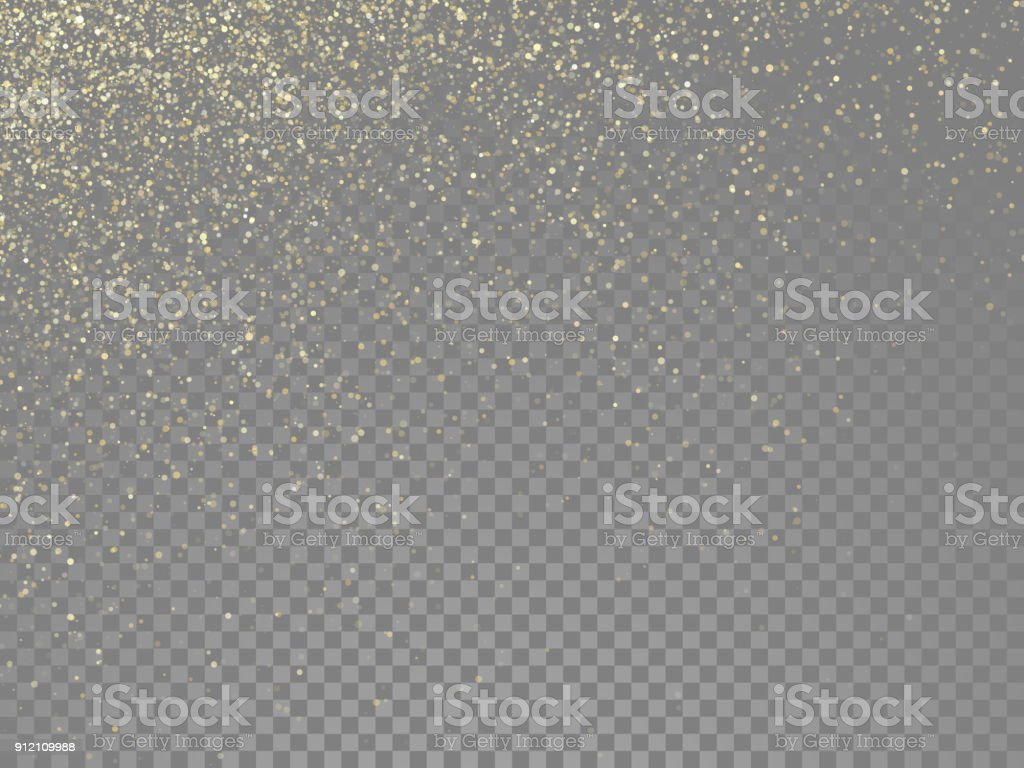 Glitter gold particles and star dust shimmer or magical falling gold glittering effect on vector transparent background glitter gold particles and star dust shimmer or magical falling gold glittering effect on vector transparent background - immagini vettoriali stock e altre immagini di a forma di stella royalty-free