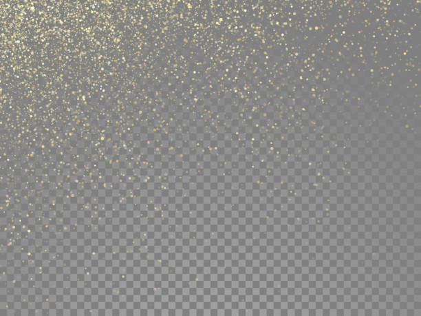 glitter gold particles and star dust shimmer or magical falling gold glittering effect on vector transparent background - gold stock illustrations