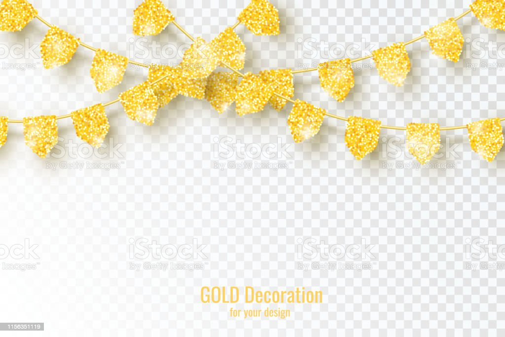 Glitter Gold Glitter Party Flags Decoration isolated on transparent...