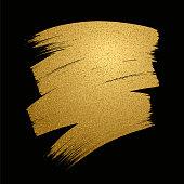Glitter golden brush stroke on black background. Vector illustration.