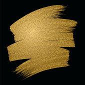 Glitter golden brush stroke on black background. Vector illustration. - Illustration