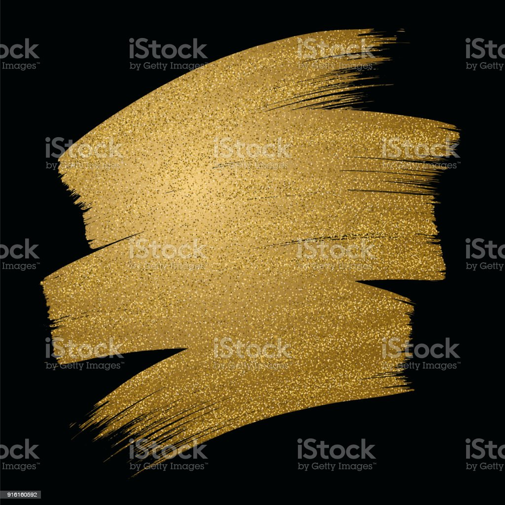 Glitter golden brush stroke on black background. Vector illustration. vector art illustration