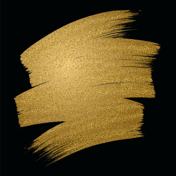 glitter golden brush stroke on black background. vector illustration. - gold stock illustrations