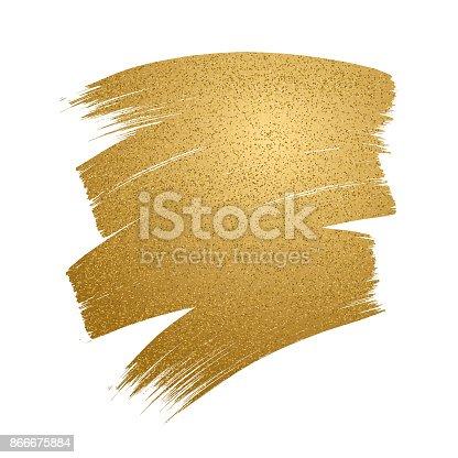 Glitter golden brush stroke on white background. Vector illustration.