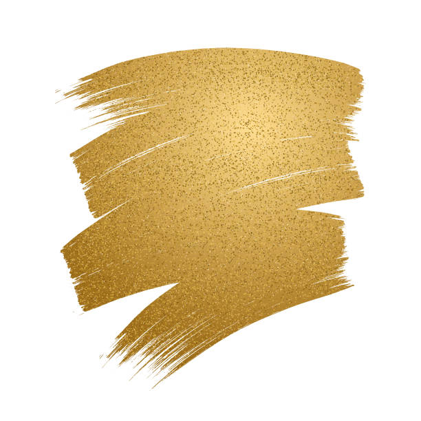 Glitter golden brush stroke on white background. vector art illustration