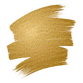 Glitter golden brush stroke on white background. Vector illustration. - Illustration