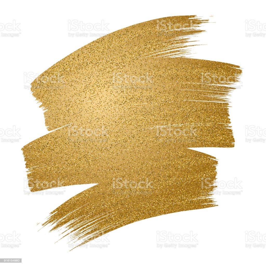 Traçado de pincel dourado brilho no fundo branco - ilustração de arte em vetor