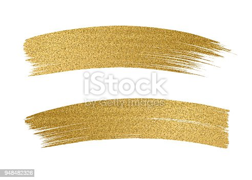 Glitter golden brush stroke on white background - Illustration