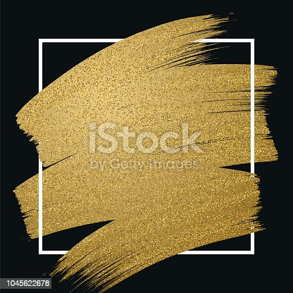 Glitter golden brush stroke with frame on black background. Vector illustration.