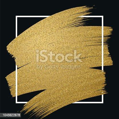Glitter golden brush stroke with frame on black background. Vector illustration.