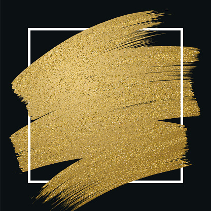Glitter golden brush stroke with frame on black background