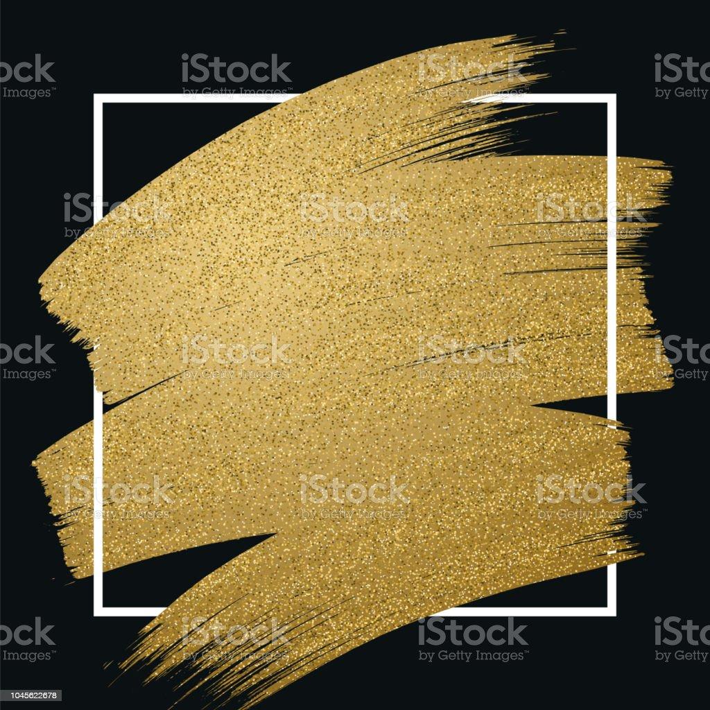 Glitter golden brush stroke with frame on black background vector art illustration