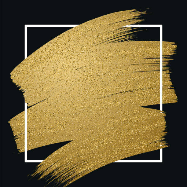 glitter golden brush stroke with frame on black background - farba stock illustrations