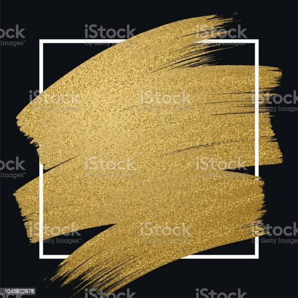 Glitter Golden Brush Stroke With Frame On Black Background - Immagini vettoriali stock e altre immagini di Arte