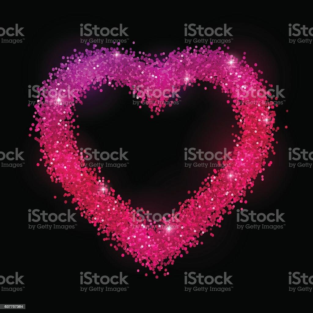 Glitter Heart Frame On Black Background Pink Purple Gradient Effect Royalty Free
