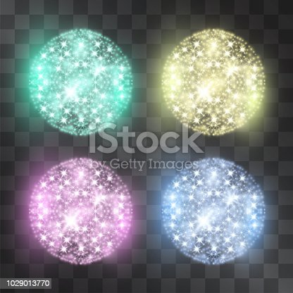Glitter medal round shape vector light shining cluster set. Suitable for glowing sparkle decoration of advertising posters, invitations, illustrations. Luxurious detail for modern banner design.