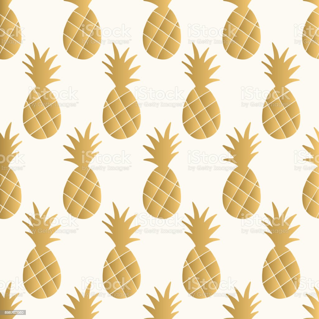 Gold Pineapple Background Vector Illustration Royalty Free Glitter Pattern