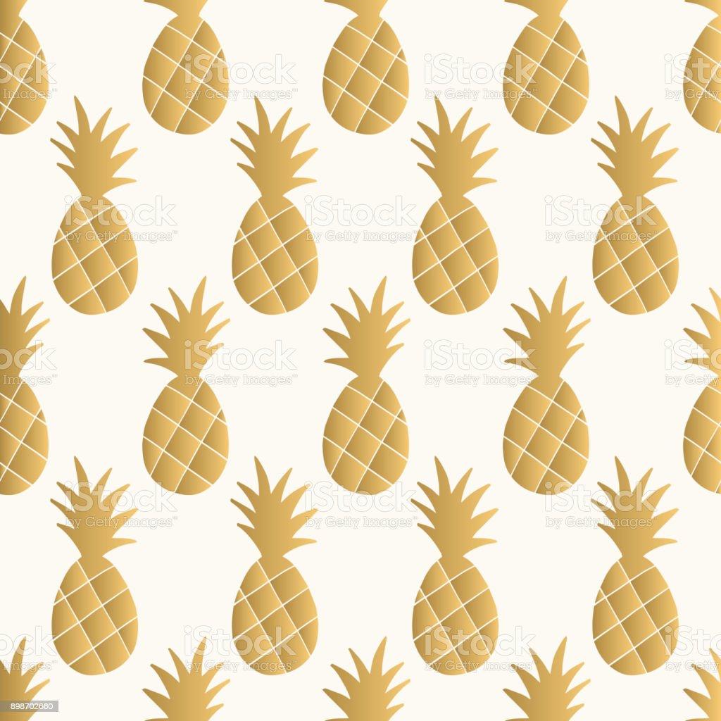 Gold Pineapple Background Vector Illustration Royalty Free Glitter Pattern