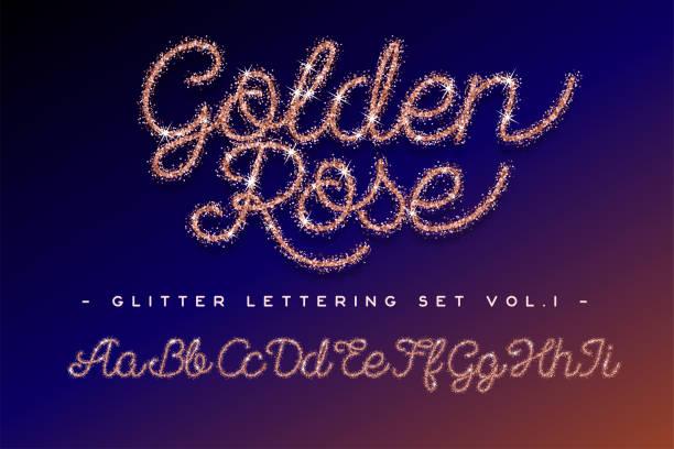 glitzer rose gold handschriftlich alphabet - modeschmuck stock-grafiken, -clipart, -cartoons und -symbole