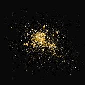 Glitter splash. Shiny paint stains isolated on black background. Vector.