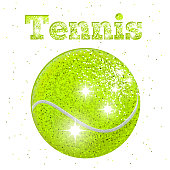 A vector illustration of a Tennis banner with glitter