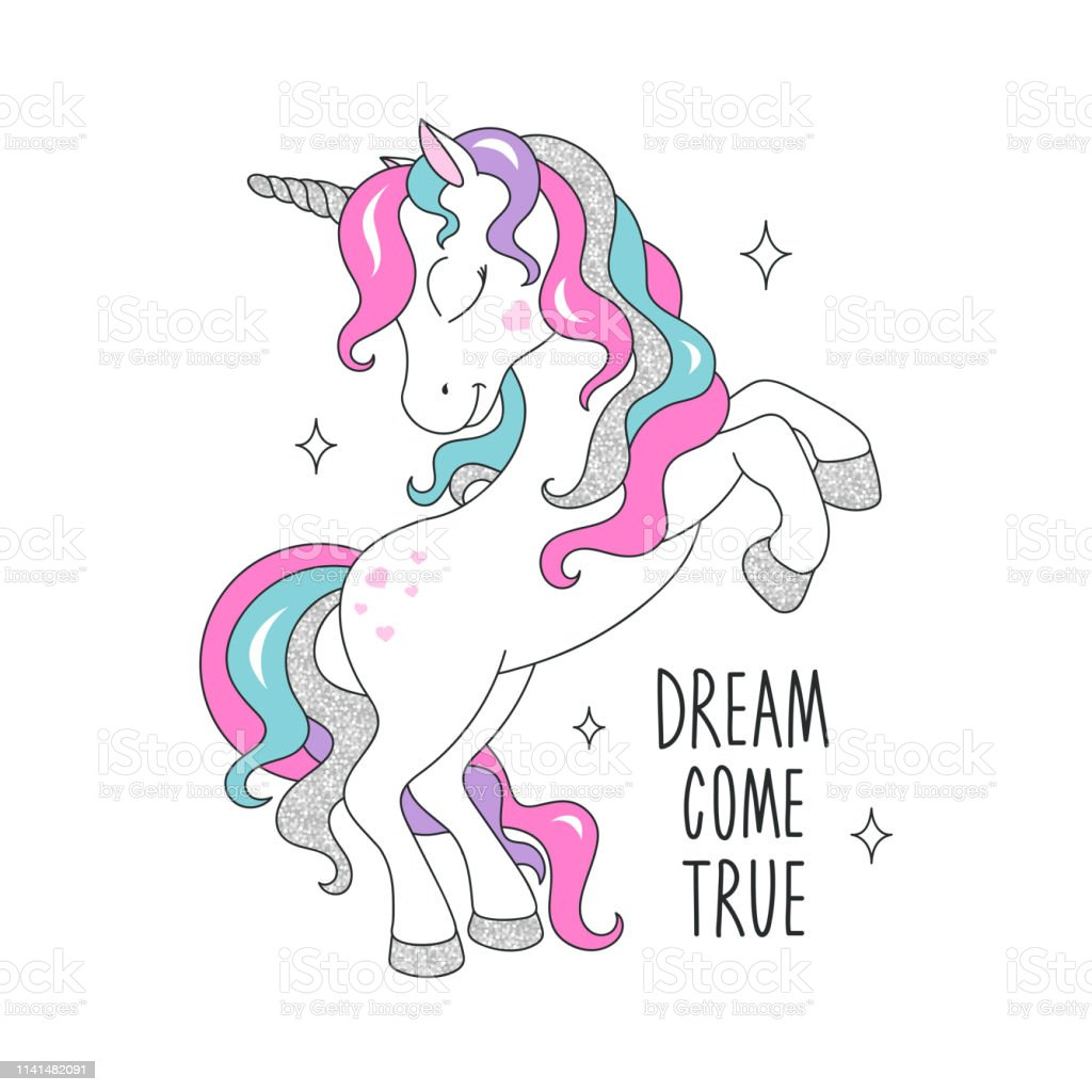 Glitter Unicorn Drawing For T Shirts Dream Come True Text Text