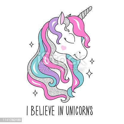 Glitter unicorn drawing for t-shirts. I believe in unicorns text. Design for kids. Fashion illustration drawing in modern style for clothes. Girlish print. Glitter, unicorn.