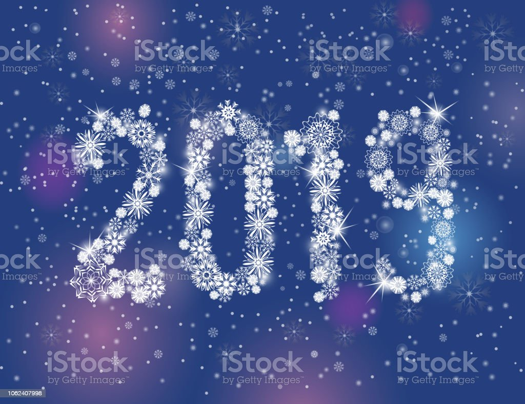 glittering 2019 new year from snowflakes on night dark blue background royalty free glittering 2019
