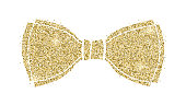 Glittering classical bow. Silhouette of bow tie from sparkling golden dust isolated on white background. Decorative symbol for invitation, weddings, greeting card