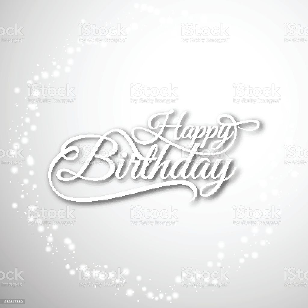 Glittering Grey Color Happy Birthday Background Design Royalty Free