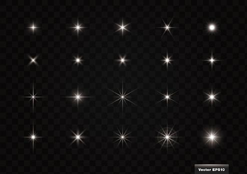 Glittering light material, 20 kinds. Vector Illustration Set