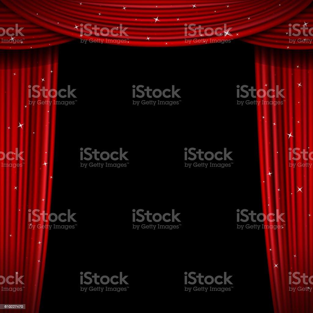 Glittering red curtain vector illustration. Open glitter curtains background vector art illustration