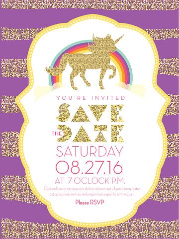 Glittering unicorn and rainbow invitation design template