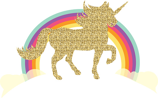 Glittering unicorn and rainbow