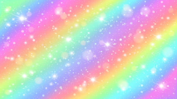 glitters rainbow sky. shiny rainbows pastel color magic fairy starry skies and glitter sparkles vector background illustration - tęcza stock illustrations