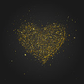 Loose golden glitter piled up in the shape of a heart. EPS10 vector illustration, global colors, easy to modify.
